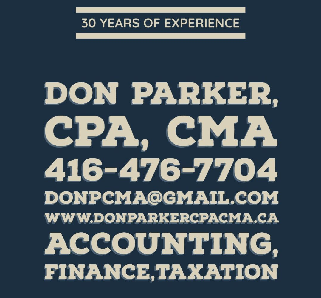 Don Parker CPA, CMA. Accounting, Finance, Investing, Corporate and Personal Income Tax